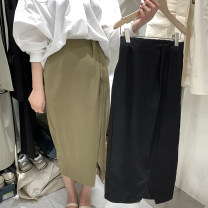 skirt Spring 2021 S,M,L Army green, black Mid length dress commute High waist Flower bud skirt Solid color Type H 25-29 years old More than 95% other polyester fiber Simplicity