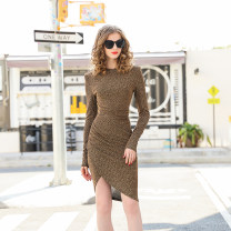 Dress Winter 2020 Gold, black S,M,L Short skirt singleton  Long sleeves commute Crew neck High waist Solid color zipper other routine Others 25-29 years old Type X RMO&JUL Asymmetric, zipper 31% (inclusive) - 50% (inclusive) other polyester fiber