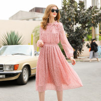 Dress Summer 2021 Pink S,M,L,XL Mid length dress singleton  Long sleeves commute Crew neck High waist Decor Pleated skirt bishop sleeve Others 25-29 years old Type X RMO&JUL lady printing 31% (inclusive) - 50% (inclusive) Chiffon polyester fiber