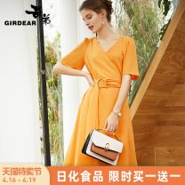Dress Summer of 2019 S M L Mid length dress singleton  Short sleeve commute V-neck High waist Solid color zipper A-line skirt other Others 30-34 years old Girdard / brother-in-law Frenulum 91% (inclusive) - 95% (inclusive) polyester fiber Same model in shopping mall (sold online and offline)