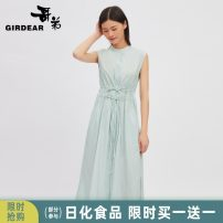 Dress Summer 2021 Clear water blue S M L Mid length dress singleton  Sleeveless stand collar middle-waisted Socket other other Others 30-34 years old Type H Girdard / brother-in-law Bandage 51% (inclusive) - 70% (inclusive) cotton Same model in shopping mall (sold online and offline)