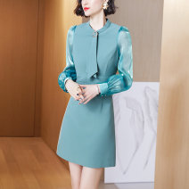Dress Spring 2021 Aqua Green S M L XL Mid length dress Fake two pieces Long sleeves commute Crew neck High waist Solid color zipper A-line skirt routine Others 30-34 years old Type A Longyuash/ longyuanshang Simplicity LC0Q3197 More than 95% other polyester fiber Polyester 100%