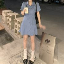 Dress Summer 2021 Girl pink, sweet cool blue Average size Short skirt singleton  Short sleeve commute Polo collar Elastic waist Solid color Single breasted other other Others 18-24 years old Type A Other / other Korean version K0321 31% (inclusive) - 50% (inclusive) other