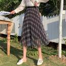 skirt Spring 2021 Average size Brown, black longuette commute High waist A-line skirt lattice Type A 25-29 years old 30% and below other polyester fiber Gauze Korean version