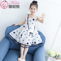 Dress Skin pink blue Nani bear female 120cm130cm140cm150cm160cm Polyester 100% summer Korean version Skirt / vest Dot other Irregular eight thousand one hundred and seventy-one Class B Summer of 2018