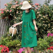Dress Summer 2021 Picture color Average size Mid length dress singleton  Short sleeve Sweet Crew neck Loose waist Socket routine Other / other 51% (inclusive) - 70% (inclusive) cotton Mori