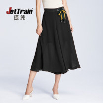 Casual pants S,M,L,XL,2XL,3XL Summer of 2019 Ninth pants Wide leg pants High waist Versatile Thin money 30-34 years old 96% and above Jettrain other Three dimensional decoration