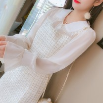 Dress Autumn of 2019 S,M,L,XL,2XL Mid length dress singleton  Long sleeves commute Doll Collar High waist Solid color Socket A-line skirt pagoda sleeve Others 25-29 years old Type A Stitching, nail bead other