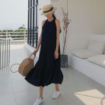 Dress Summer of 2018 White black Average size Other / other