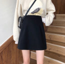 skirt Summer 2020 M,L,XL,2XL,3XL,4XL black Short skirt Versatile High waist A-line skirt Solid color Type A More than 95% other other zipper