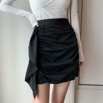 skirt Spring 2021 S,M,L,XL,2XL,3XL,4XL black Short skirt Versatile High waist Irregular Solid color Type A other other Fold, asymmetry, zipper