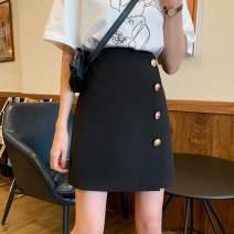 skirt Spring 2020 M,L,XL,2XL,3XL,4XL black Short skirt Versatile High waist Irregular Solid color Type A More than 95% other other Asymmetric, button, zipper