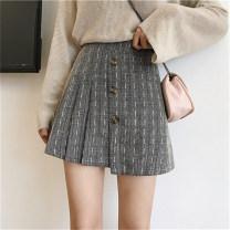 skirt Winter of 2019 M,L,XL,2XL,3XL,4XL Coffee, grey black Short skirt Versatile High waist Irregular lattice Type A 71% (inclusive) - 80% (inclusive) other Other / other other Button, zipper