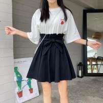 skirt Summer 2021 M,L,XL,2XL,3XL black Short skirt Versatile High waist Fluffy skirt Decor Type A More than 95% Chiffon other