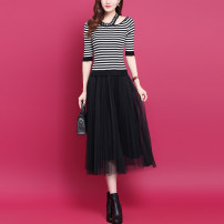 Dress Autumn 2020 Black, striped S,M,L,XL,2XL Mid length dress Fake two pieces elbow sleeve commute Crew neck Elastic waist stripe Socket Pleated skirt routine Others Type A Korean version Stitching, thread, mesh, lace WS658 51% (inclusive) - 70% (inclusive) knitting wool