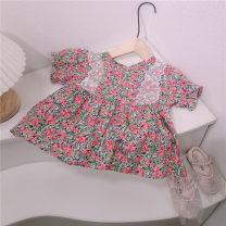 shirt Pink floral top, black floral top, short sleeve floral top, pink floral dress Other / other female 80cm,90cm,100cm,110cm,120cm,130cm spring and autumn Long sleeves Korean version lattice cotton Other 100%