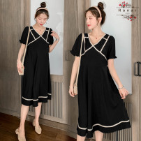 Dress Other / other Black collar line skirt, black skirt, black skirt + black safety pants, black skirt + skin color safety pants M,L,XL,XXL Korean version elbow sleeve Medium length summer Crew neck Solid color Chiffon