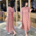 Dress Other / other Pink M,L,XL,XXL ethnic style Short sleeve have more cash than can be accounted for summer stand collar Decor Chiffon