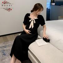 Dress Other / other black M,L,XL,XXL Korean version Short sleeve Medium length summer V-neck Solid color