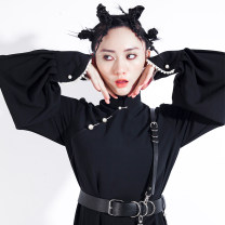 Dress Winter of 2019 black S,M,L Mid length dress singleton  Long sleeves commute stand collar Loose waist Solid color Socket other puff sleeve Others 18-24 years old Type H CUUDICLAB Nail bead