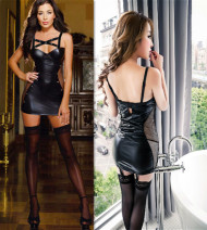 Dress Summer 2016 black Short skirt singleton  Sleeveless street V-neck middle-waisted Solid color Socket Pencil skirt Breast wrapping 25-29 years old More than 95% Lycra Lycra Europe and America
