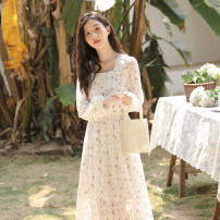 Dress Spring 2021 White printing S,M,L,XL longuette singleton  Long sleeves commute square neck High waist Broken flowers Socket A-line skirt puff sleeve 18-24 years old Type A literature Flounce, Auricularia auricula, stitching, button, zipper, printing QY-MY6036DC05 Chiffon