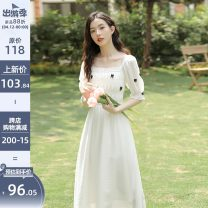 Dress Summer 2021 White, black S,M,L longuette singleton  Short sleeve commute square neck High waist Socket A-line skirt puff sleeve 18-24 years old Type A literature Bow tie, Auricularia auricula Q-0814DD12