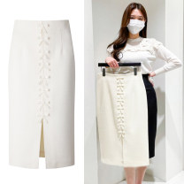 skirt Spring 2021 160/64A,165/68A,170/72A White, black Mid length dress commute High waist other Solid color 81% (inclusive) - 90% (inclusive) other bow Korean version
