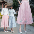 skirt Summer 2020 Average size Light blue, pink Mid length dress commute Natural waist A-line skirt Type A 6203# 71% (inclusive) - 80% (inclusive) hemp Embroidery, buttons, stitching ethnic style