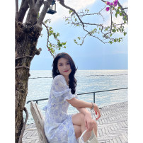 Dress Summer 2021 Powder blue - dress S,M,L Mid length dress singleton  Short sleeve commute V-neck High waist Broken flowers Single breasted A-line skirt puff sleeve Others 25-29 years old Type A Korean version Floral, print, Ruffle More than 95% other