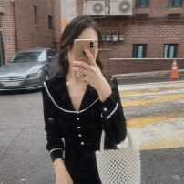 Dress Spring 2021 Star Black S,M,L Mid length dress singleton  Long sleeves commute Doll Collar High waist Solid color zipper A-line skirt routine Others 25-29 years old Type A Korean version More than 95% velvet polyester fiber