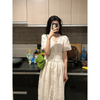 Dress Summer 2020 Beige S,M,L Mid length dress singleton  Short sleeve commute V-neck High waist Solid color Single breasted A-line skirt routine 25-29 years old Type A Korean version More than 95% Lace cotton