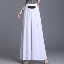 Casual pants Black, green, blue, red, white 27 [waist 2 feet], 28 [waist 2.1 feet], 29 [waist 2.2 feet], 30 [waist 2.3 feet], 31 [waist 2.4 feet], 32 [waist 2.5 feet], 33 [waist 2.6 feet], 34 [waist 2.7 feet] Summer 2021 trousers Wide leg pants High waist commute Thin money Korean version Collage