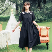Dress Summer 2021 black Average size Middle-skirt singleton  Short sleeve commute Crew neck Loose waist Solid color Socket other routine Others 18-24 years old Type A Korean version Splicing 31% (inclusive) - 50% (inclusive) cotton