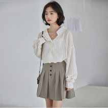 Fashion suit Spring 2021 S,M,L Apricot white [with sling] , Pleated skirt , suit 25-35 years old eight point two five 81% (inclusive) - 90% (inclusive)