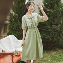 Dress Summer 2021 Red, green S,M,L,XL Mid length dress singleton  Short sleeve Sweet other High waist lattice Single breasted other other Others 18-24 years old Type A Splicing 71% (inclusive) - 80% (inclusive) other other