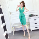 Dress Summer 2021 Red, green, black S,M,L Middle-skirt singleton  Sleeveless commute V-neck middle-waisted Solid color zipper Ruffle Skirt other Others Korean version Splicing 81% (inclusive) - 90% (inclusive) brocade cotton