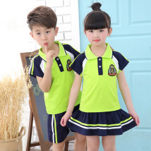 School uniform / school uniform customization Boy red boy white girl red girl white boy green girl green Height: 140cm170cm170cm neutral Red elf star summer college Class B Socket 21-22 cotton Short sleeve + pants