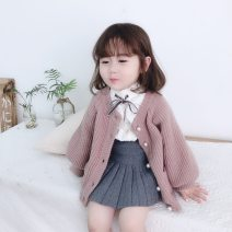 Parent child fashion Beige, taro purple, warm orange, beige jacquard, black cartoon, yellow V-neck, beige V-neck, white shirt, grey pleated skirt (knitted), black pleated skirt (knitted) Women's dress female Other / other 80cm, 90cm, 100cm, 110cm, 120cm, 130cm, mom M spring and autumn Korean version