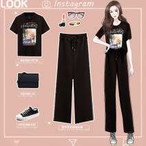 Women's large Summer 2021 Picture color suit Large XL, large XXL, large XXL, large XXXXL, large L trousers Two piece set moderate Socket Short sleeve Solid color Crew neck routine Three dimensional cutting other 8327# BXE Diamond inlay trousers