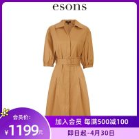 Dress Spring 2021 Golden Camel S M L Mid length dress singleton  elbow sleeve commute V-neck High waist Solid color Single breasted A-line skirt Others 25-29 years old Type A Esons / love the city Retro Button More than 95% cotton Cotton 100% Same model in shopping mall (sold online and offline)