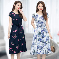Dress Summer 2020 3#,6#,9#,11#,12#,13#,16#,19# XL [about 90-115 kg recommended], 2XL [about 115-130 kg recommended], 3XL [about 130-145 kg recommended], 4XL [about 145-160 kg recommended], 5XL [about 160-180 kg recommended] Mid length dress singleton  Short sleeve commute Crew neck middle-waisted