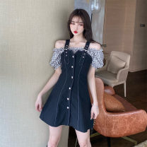 Dress Summer 2020 Black and white M,L,XL,2XL,3XL,4XL Middle-skirt singleton  Short sleeve commute V-neck High waist Solid color Socket A-line skirt puff sleeve Others 25-29 years old Type A Korean version Three dimensional decoration, zipper 8853# 71% (inclusive) - 80% (inclusive) other other