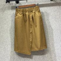 skirt Autumn of 2019 S,M,L,XL Yellow, black Mid length dress Versatile High waist Irregular Solid color Type A 71% (inclusive) - 80% (inclusive) Denim cotton Button