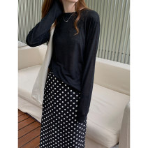 skirt Spring 2021 longuette High waist commute skirt Dot Type A More than 95% Cellulose acetate 25-29 years old 0220-13392 other THXGIVING Korean version S,M,L Black, white