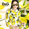 Fabric / fabric / handmade DIY fabric silk Black, lemon yellow, 148.9 one meter Loose shear rice Plants and flowers printing and dyeing clothing Europe and America DIY S201322JS