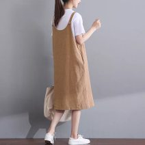 Dress Autumn of 2019 khaki Mid length dress Sleeveless commute Crew neck Loose waist Solid color Socket Princess Dress straps Type H Britain 51% (inclusive) - 70% (inclusive) Crepe de Chine hemp