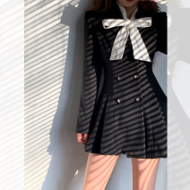 Dress Winter 2020 College black, the second batch of College black S,M,L Short skirt singleton  Long sleeves commute tailored collar Loose waist Solid color double-breasted A-line skirt routine Others Type A Button CWQ20D1720 31% (inclusive) - 50% (inclusive) Wool other