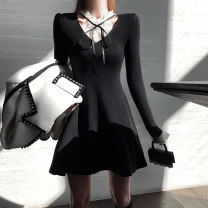 Dress Spring 2021 Black, black (second batch) S,M,L Short skirt singleton  Long sleeves commute other High waist Solid color Socket A-line skirt routine Others 18-24 years old Type A Other / other Korean version CWQ20D1935 31% (inclusive) - 50% (inclusive) knitting cotton
