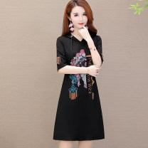 Dress Summer 2021 Picture color Mid length dress singleton  Short sleeve commute Hood letter Socket routine Korean version Diamond inlay 51% (inclusive) - 70% (inclusive)